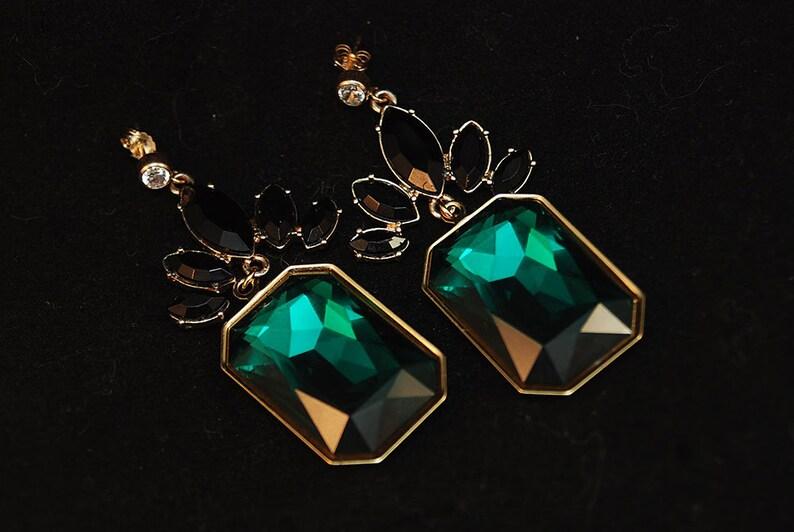 Emerald Cut Swarovski Crystal and Goldtone Earings image 0