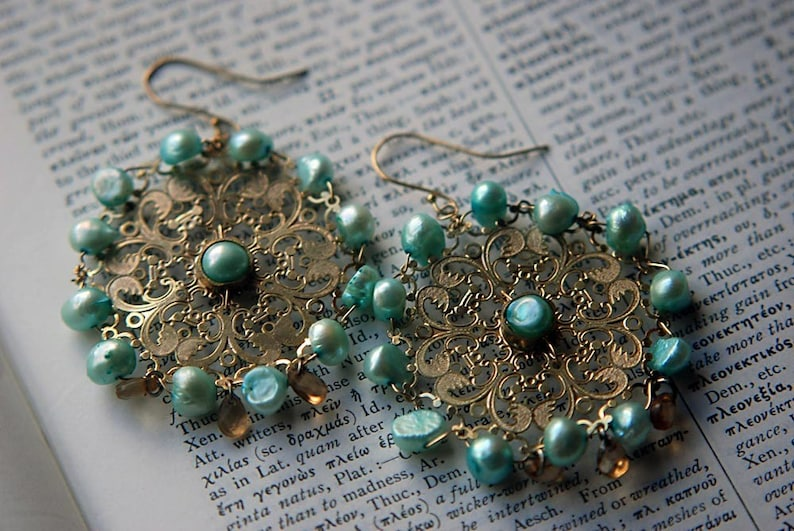 Upcycled Jewelry Cultured Freshwater Pearl Turquoise Gold Earring Lazer Cut Lace