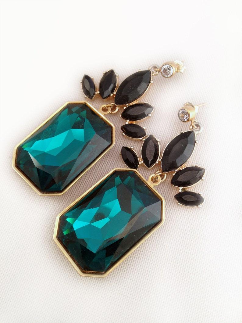 Emerald Cut Swarovski Crystal and Goldtone Earrings