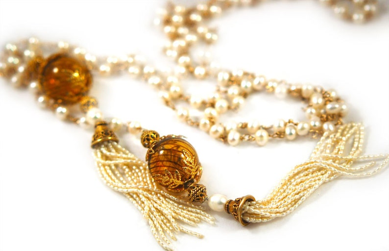 trendy fashion jewellery nancystroreonline.com White Pearl Lariat Tassell Necklace, Gold Filled Chain, Venetian Glass, Vermeil Beads