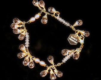 Rose Quartz, Crystal, Pearl and 12K gold Bracelet