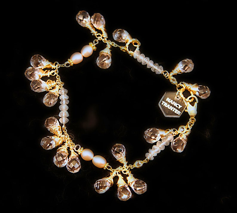 Rose Quartz Crystal Pearl and 12K gold Bracelet image 0