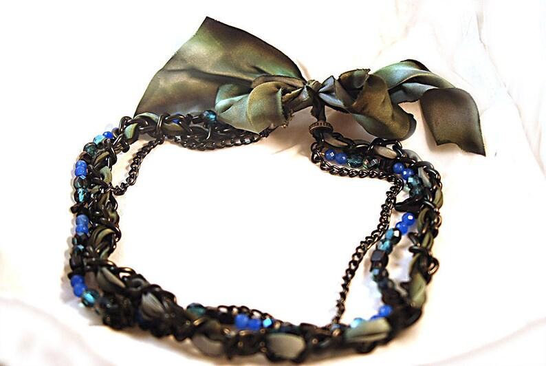 Necklace Semi Precious Sapphire Grey Blue Green Silk Ribbon image 0