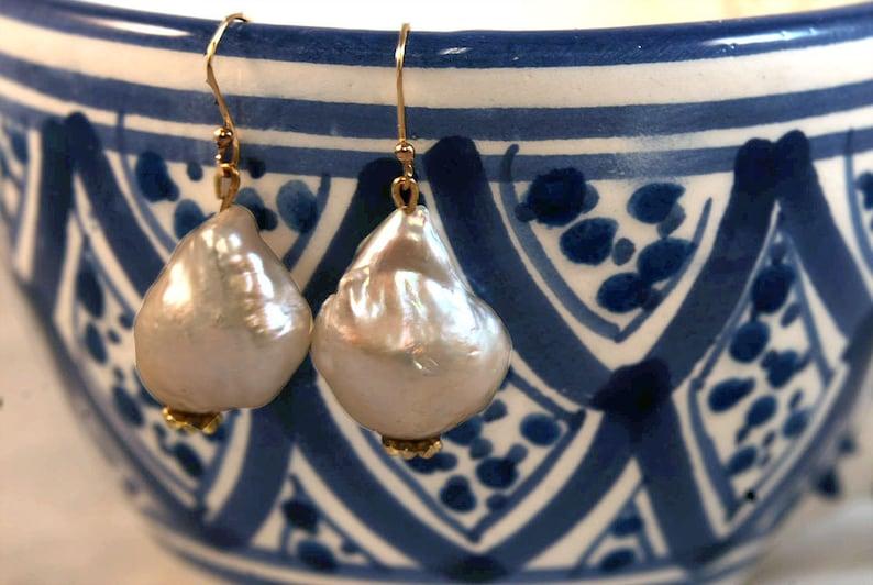 Baroque Pearl Drop Earrings Large 24k Gold Vermeil Earring Nancy Tranter