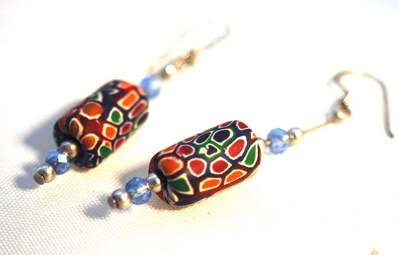 Sterling Silver Femo Swarovski Crystal Blue Drop Earrings image 0