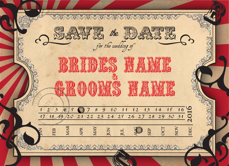 Save the Date  Wedding Invitation Postcard Vintage Carnival image 0