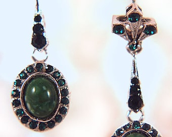 Vintage Emerald Green Crystal and Faux Green Stone Silvertone