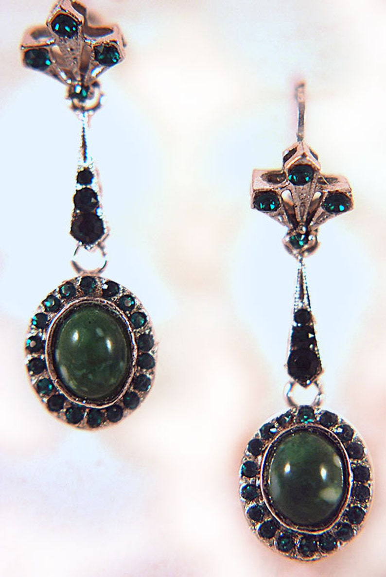 Vintage Emerald Green Crystal and Faux Green Stone Silvertone image 0