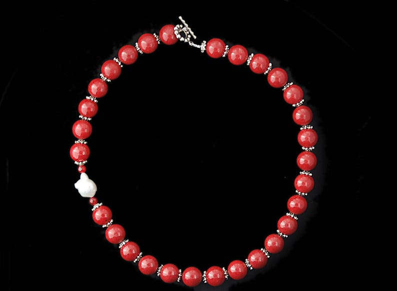 Guru Necklace No.2  Red Jade with Silver Bead Caps Ruby and image 0