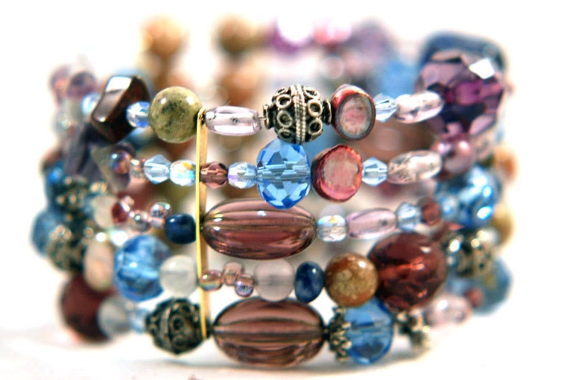 Bracelet Radiant Orchid Mix Gemstones Memory Wire Wrap image 0
