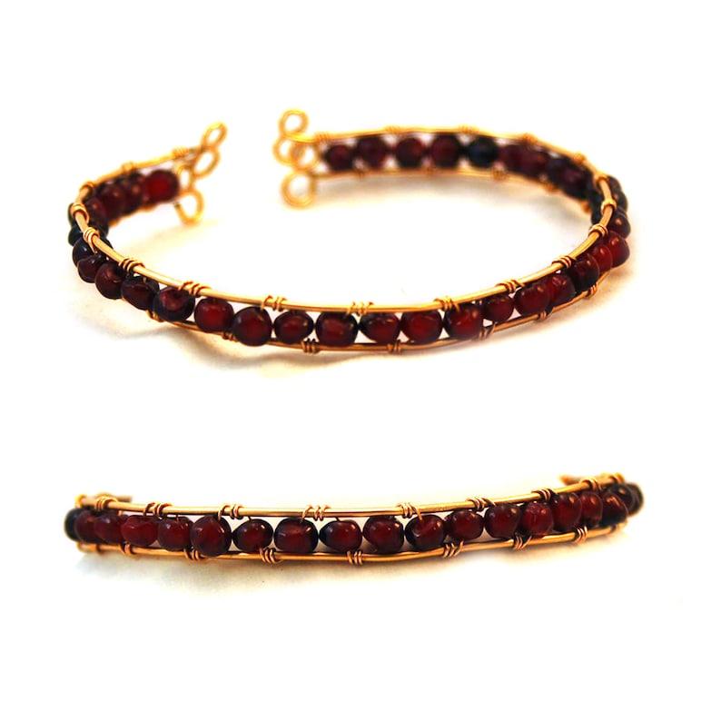 24k Gold Filled Garnet Wire Wrapped Bracelet image 0