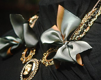 Inspired by FENTON/FALLON Necklace - Black Glass Cameo, Onyx gemstones and Swarovski crystal with Silk Bow