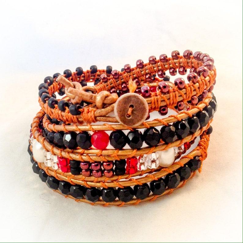 Leather wrap beaded bracelet freshwater pearl genuine ruby image 0