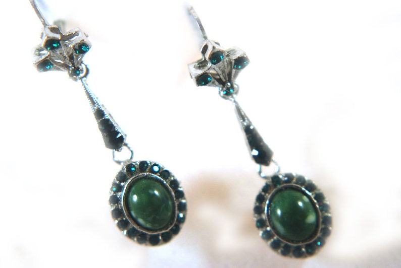 Earrings Vintage Emerald Green Crystal and Faux Green Stone image 0