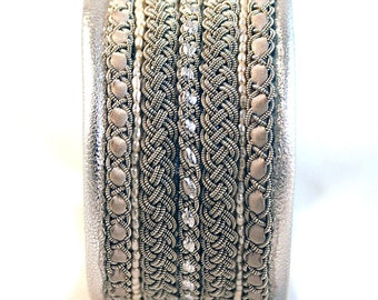 Bracelet Swedish Sami Bracelet in Silver, Reindeer leather, pewter, antler, pearls