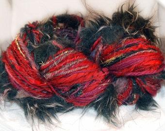 Handspun Bulky Textured Art Yarn Blood Prince of Wallachia Marsala Red Black Faux Fur