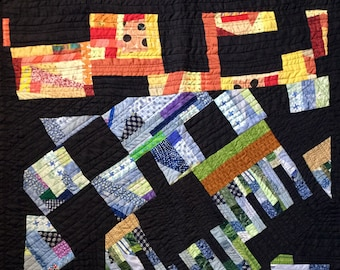 Colorful Improv Lap or Baby Quilt