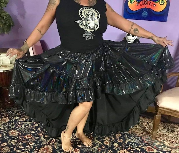 Oil Slick Mullet Skirt With Pockets Etsy