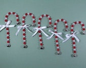 5 Candy Cane Ornaments w/ White & Red Faceted Acrylic Beads, Jingle Bell Holiday Tree Stocking Stuffer/Filler Handmade Gift Package Toppers