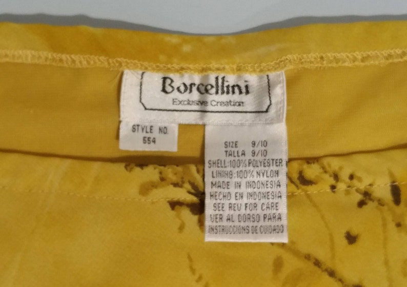 32 Elastic Waist Flared Lined Skirt by Borcellini Exclusive Creations  Bohemian Easy Comfort Size 910 Midi Semi-Sheer Polyester Nylon EUC