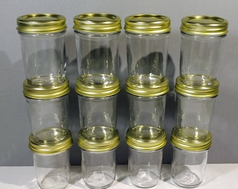 12 Clear 8 oz Glass Mason Style Jar Collection Gold Cap Lid Band Jelly Canning Organizer Vase Reusable Craft Candle Party Table Favor Decor