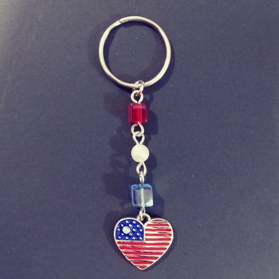 Stars and Stripes Key Fob American Flag 6 Inch Loop Purse or Wallet Strap Patriotic Keychain Military Gift 4th of July