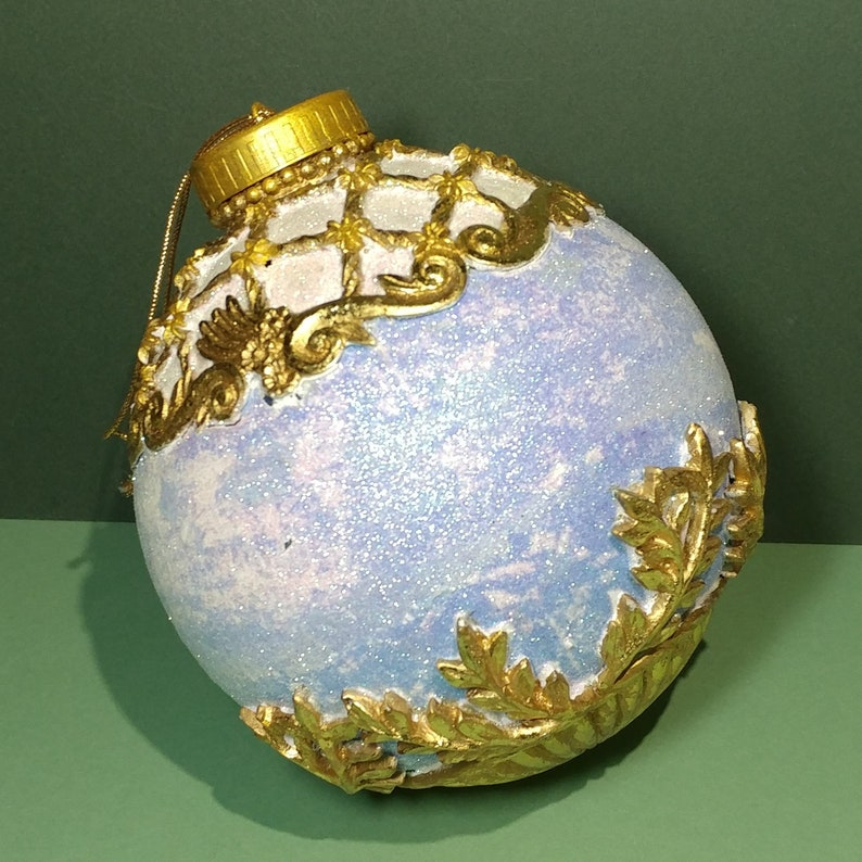 Rare XL 6.5T x 5W Glittered Christmas Ornament Blue White Victorian Style Gold Repousse Scrollwork Holiday Hanging Tree Collect Decoration