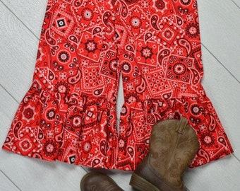 Red Bandana Ruffle Pants Size 6