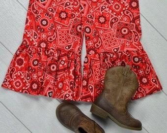 Red Bandana Ruffle Pants Size 4t