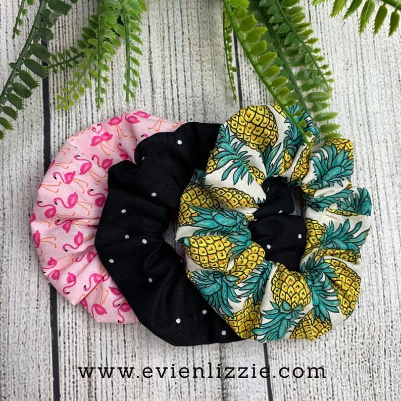 Tropical Scrunchies Flamingo Black Pineapple image 0