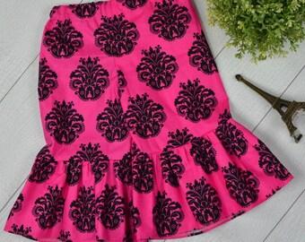 Pink and Black Damask Ruffle Pants 3t