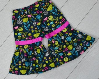 OOAK Ruffle Pants - Flower Power 18/24 months