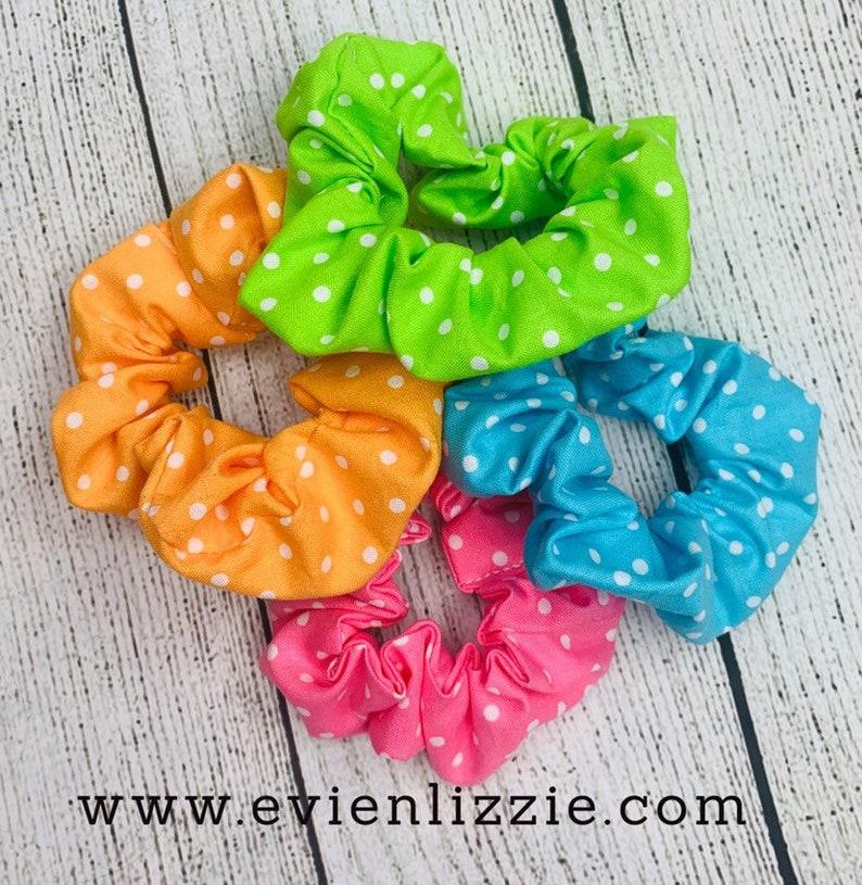 Polkadot Scrunchies Pink  Green  Orange  Blue image 0