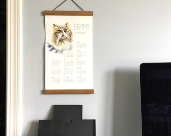 Personalized Pet Portrait Hanging Wall Calendar, 2020 Year Calendar