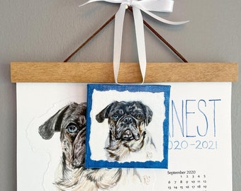 Personalized Pet Portrait Hanging Wall 2021 Year Calendar, and PetMini Print.