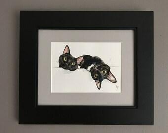 8x10 Custom Watercolor Framed Petrait TWO PETS