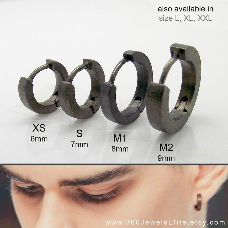 bb5d89bd4 Men's black huggie hoop earrings black spectrum hoop | Etsy