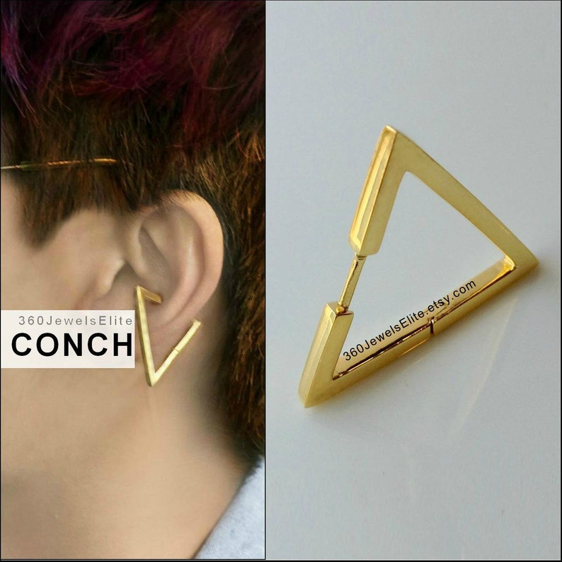77ee03215a3da Gauge Conch Piercing Mens Earring Triangle - Gold Plated over 925 Silver  hoop - Etsy Conch Helix Cartilage earring 12G 14G 16G 18G E235SY