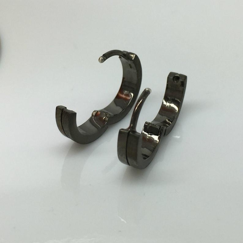 18 gauge hoop earring gauged hoop earrings 18 gauge cartilage men/'s hoop earrings gauge conch E191 18G halved black hoop earrings