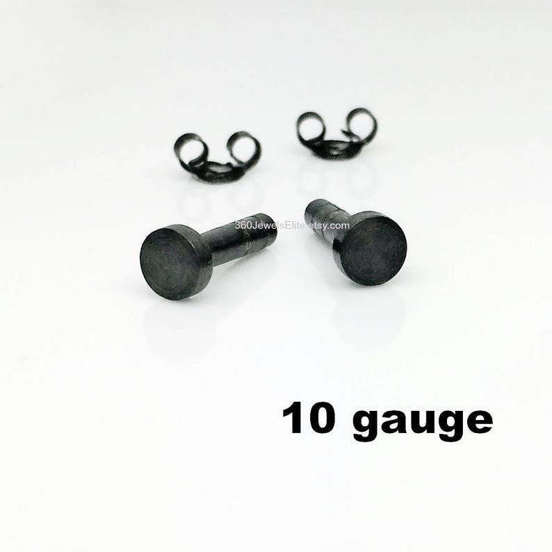 6cedf2c7f 10 gauge post earrings for men black men's stud earrings | Etsy