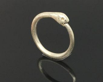 Ouroboros snake gauged hoops, sterling silver snake earrings, dragon hoops, snake eating tail, snake hoop earrings, oroboros, E195N