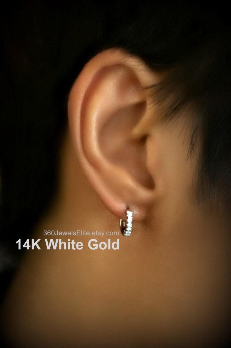 8mm Diamond Cartilage Hoop Earrings For Men Upper Ear Hoop Etsy