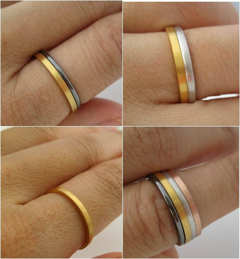 Brushed Promotion Solid Yellow Gold Ring Flat Square Spacer Stackable 1.5mm Tiny Skinny Wedding Band Wedding Anniversary Promise