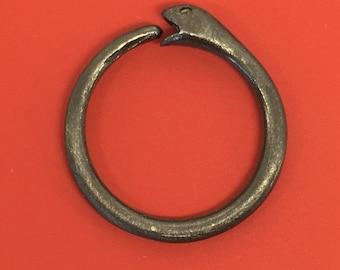 Gauged ouroboros snake hoop earring, snake eating tail, snake hoop earrings, ouroboros earring for sale, 12 14 16  18 gauge oroboros, E195B