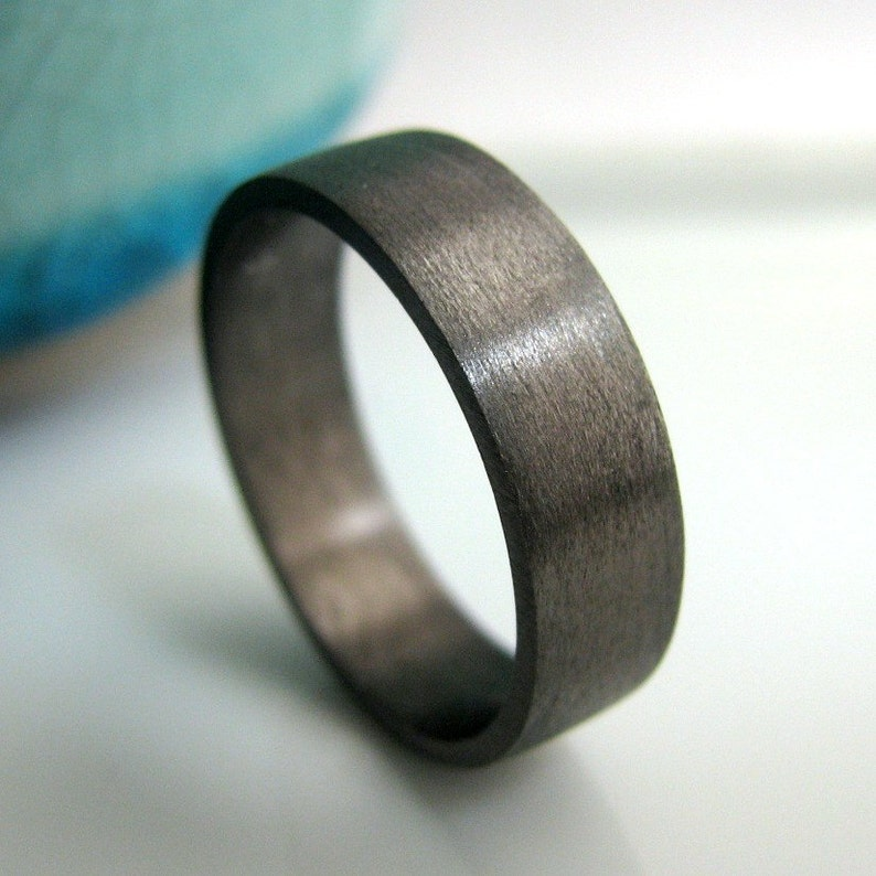 Wedding Band  5mm to 6mm Wide  Black Gold Plated 925 image 0