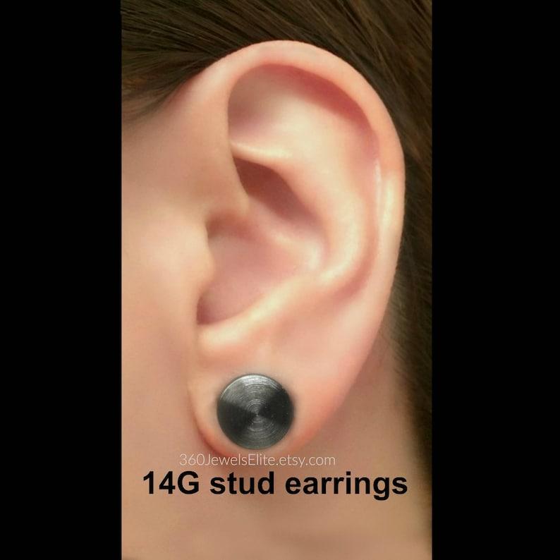 0c0f4d0c4 14 gauge black post earring round stud earrings for men | Etsy
