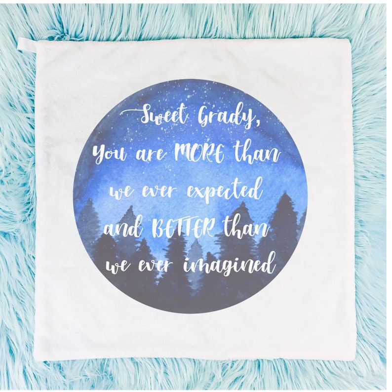 Baby Shower Gift Baby Boy Gift You are more than we imagined and better than we expected Security Blanket Personalized Watercolor Lovey