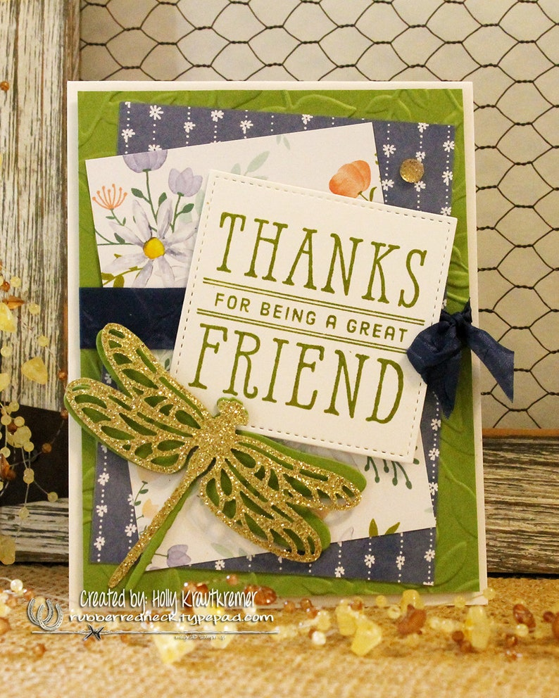 Dragonfly Greeting Card Friend Card Thanks for Being a Great Friend Green Blue White Gold Thank You Floral
