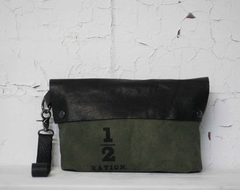 Handbags /  Army Green Clutch Bag /  Leather Purse / Holiday Gifts / Black Leather Pouch