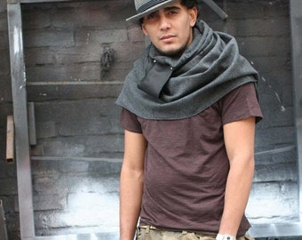 Grey Wool Scarf, leather scarves, winter accessories, holiday gifts